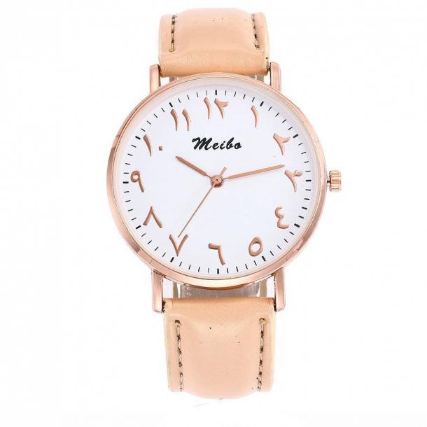 #436 Lækkert armbåndsur med arabiske tal, hvid skive og cremefarvet rem