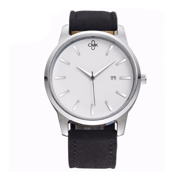#450 Elegant hvidt armbåndsur med dato