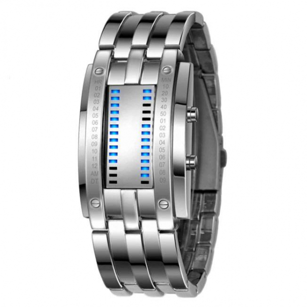 #344 Kreativt herre lænke ur i stål BLÅ led