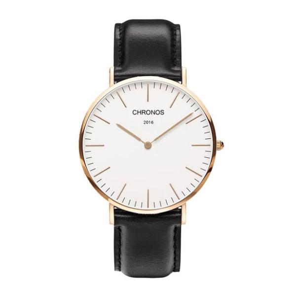 #484 Klassisk ur med rosen guldtonet hus, hvid skive og lækker sort rem