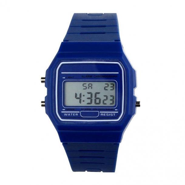#202 Retro LCD ur - blå
