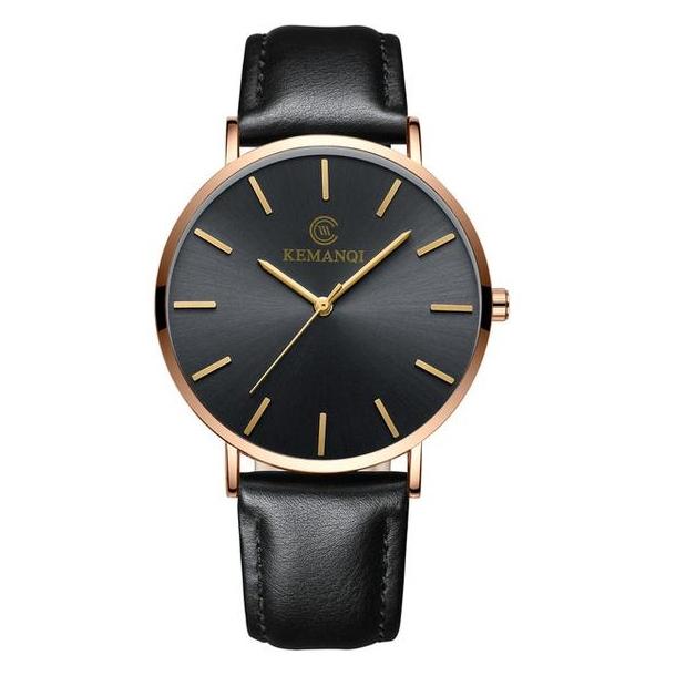 #42 Tyndt klassisk sort ur med gyldent hus og lækker sort rem - tykkelse 6.5 mm