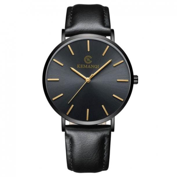 #386 Tyndt klassisk ur med sort hus og lækker rem