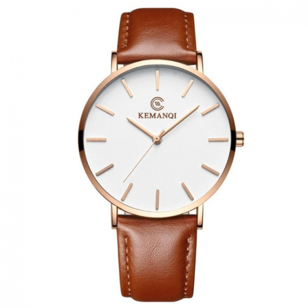 #417 Tyndt klassisk ur med guldtonet hus, hvid skive og lækker brun rem - tykkelse 6.5 mm