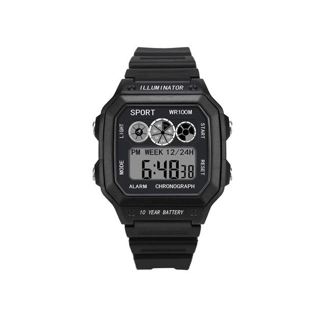 #154 Retro sort LCD  - dual time - vandtæt 50 m