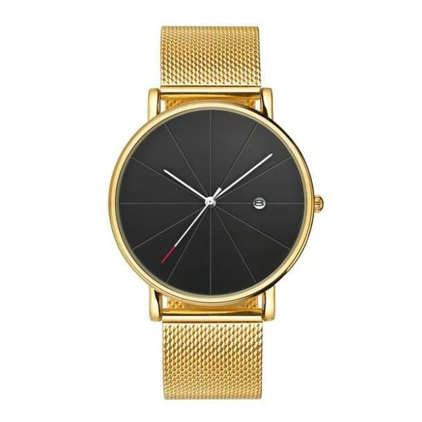 #300 Gyldent ur med lækker sort skive, datovisning og MESH rem