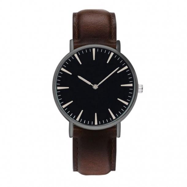 #326 Klassisk ur med sort hus, sort skive og lækker kaffebrun rem