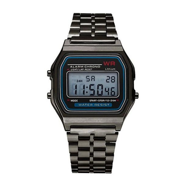 #104 Retro LCD ur - rustfrit stål mørkt Oxideret