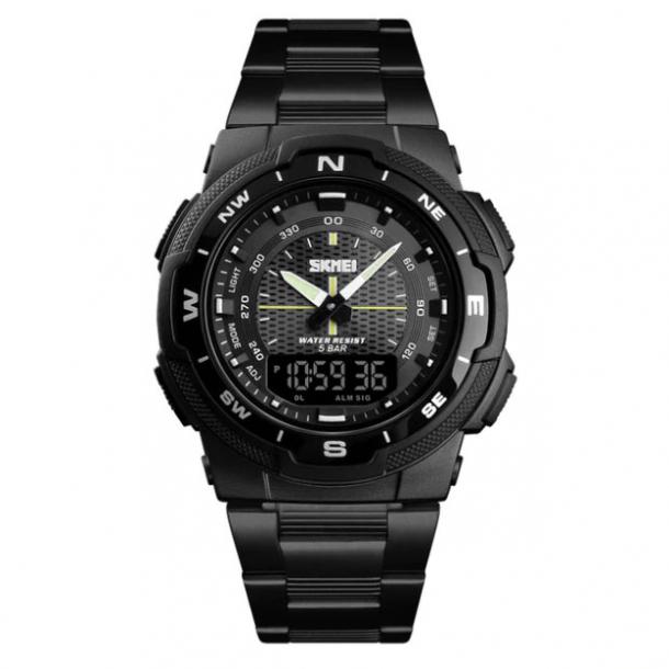 #304 Lækkert sort DUAL-ur med sort skive og datovisning