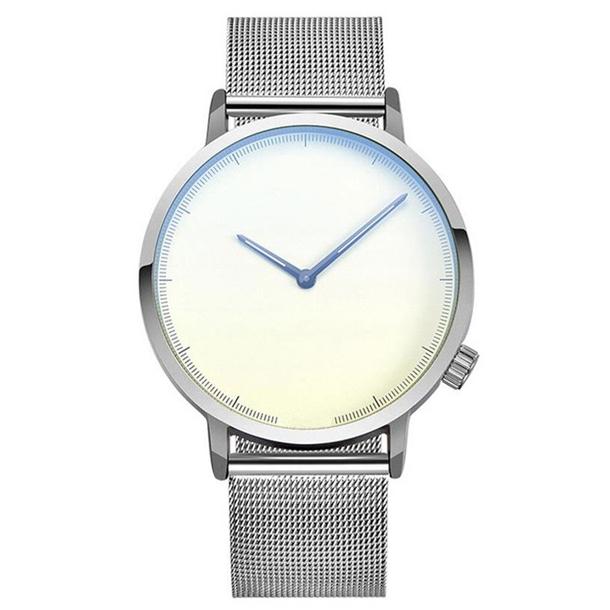 #374 Lækkert ur med stålfarvet skive, stålfarvet hus og MESH rem