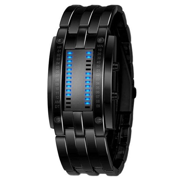 #467 Kreativt herre lænke ur i sort oxideret stål