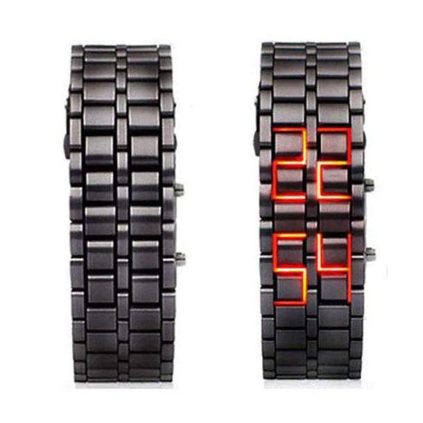 #445 Lækkert sort herre lænke ur i stål RØD led