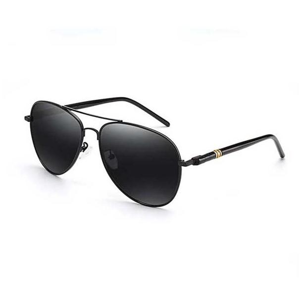 #S12 Cool pilot solbrille med sort kanter - polaroid-glas og UV 400 filter