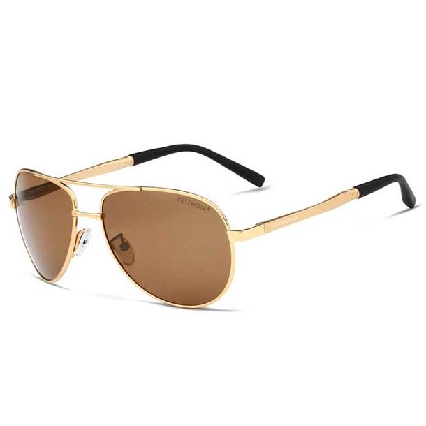 #S18 Lækker klassisk pilot solbrille med gylden ramme, UV400 filter og polaroid-glas.