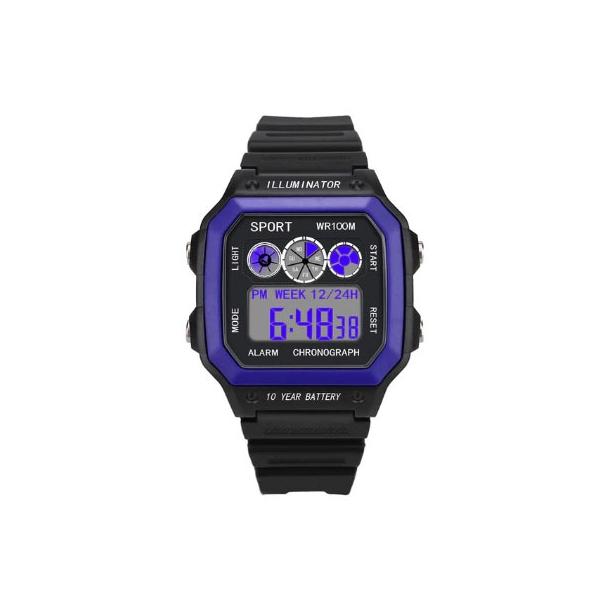 #526 Retro sort LCD  - dual time - vandtæt 50 m - blå front