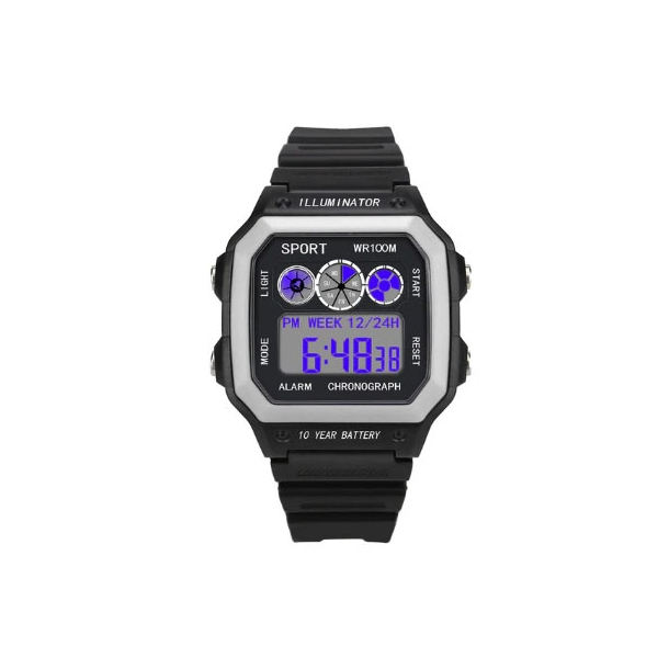 #527 Retro sort LCD  - dual time - vandtæt 50 m - hvid front
