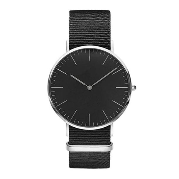 #463 Klassisk ur med sort hus, skive og lækker canvas rem