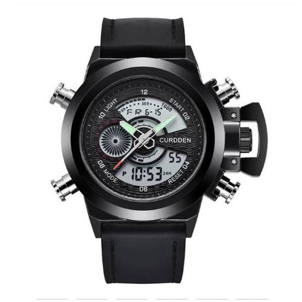 #197 Maskulint sort dobbelt ur og krone beskytter