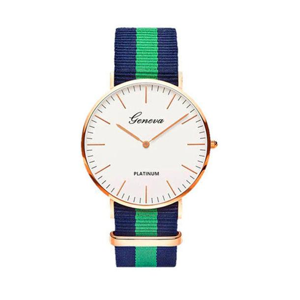 #249 Tyndt armbåndsur, med blå og grøn canvas rem og hvid urskive.