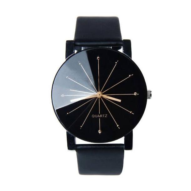 38d9ace2b6a 1 Stilrent design - Sort ur med lys visere - Billige Herre Dress-ure ...