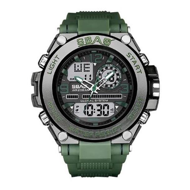 #282 Maskulint sort dobbelt ur og army grøn gummi rem