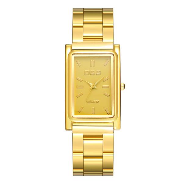 #158 Guldtonet firkantet dameur med lækker lænke